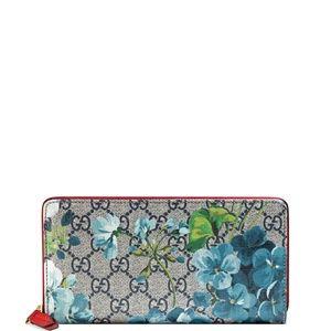 NWT Gucci Blooms Blue Zip Around Wallet